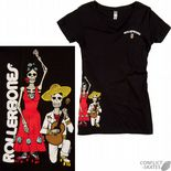 "ROLLERBONES ""Day of the Dead - Dancing Couple"" Girls T-Shirt Black XL only Roller Derby Rollerskate"